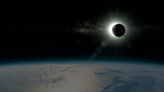 solar eclipse - view from outside of earth - flare video stock e b–roll
