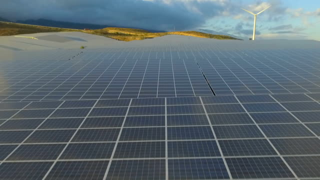 Solar Energy Farm producing renewable energy video