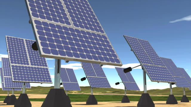 Solar Energy Farm Sunrise to Sunset CG video