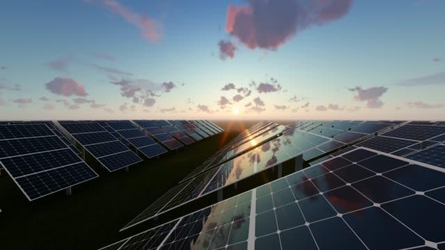 Solar Energy Panels At Sunrise Background