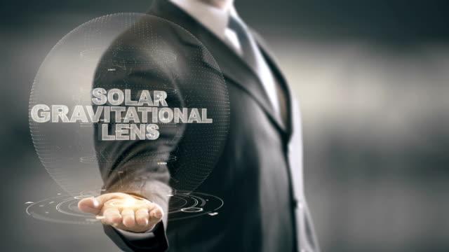 Solar Gravitational Lens with hologram businessman concept video