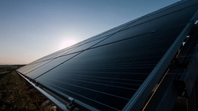 Solar Panel at sunset video