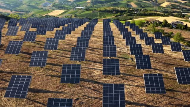 Solar panel green energy field on hills video