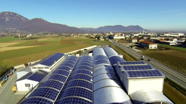Solar Panel Roof - Aerial View video