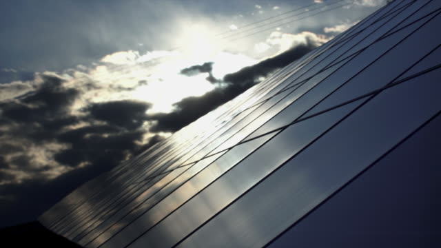 T/L Solar Panels Against Evening Sky video