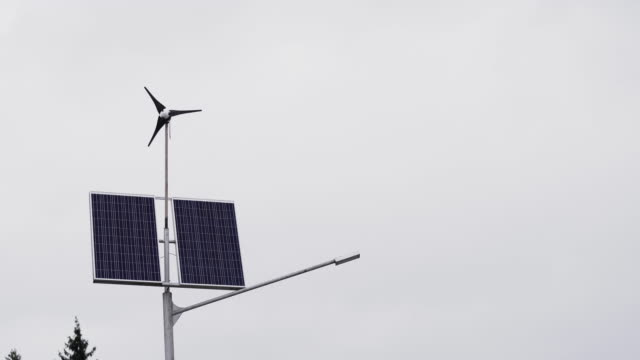 Solar panels and a small wind turbine for the production of environmentally friendly energy