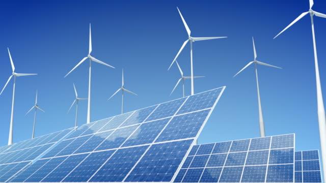 pannelli solari e turbine eoliche - energia rinnovabile video stock e b–roll