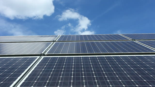 Solar Panels in Front of Blue Sky video