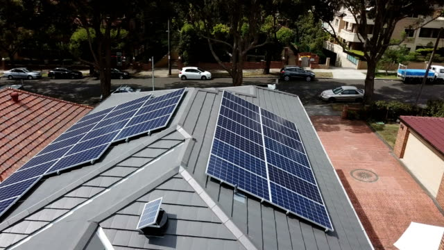 Solar panels on the rooftops. Aerial view