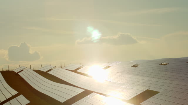 PAN Solar Panels Reflecting The Evening Sun video