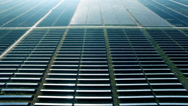 Solar Panels row after row of Futuristic Technology to Power our Planet through Climate Change video