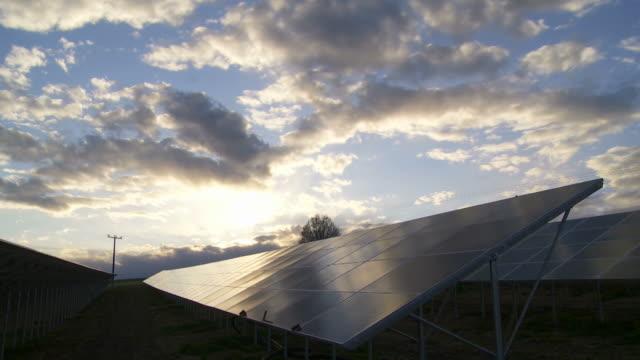 T/L Solar Park Against Evening Sky video