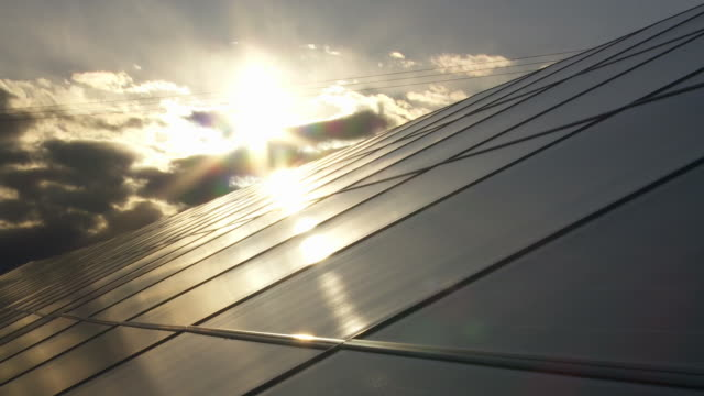 Solar Park Against Moody Sky Time Lapse video