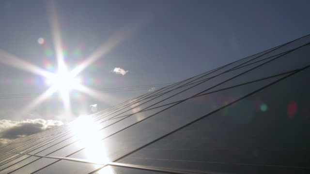T/L Solar Park In Front Of Evening Sun video
