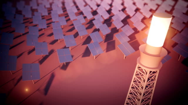 Solar power plant loopable animation video