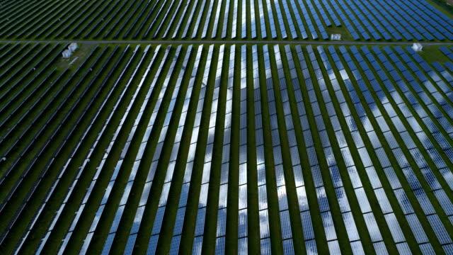 Solar power plant, tracking shot video