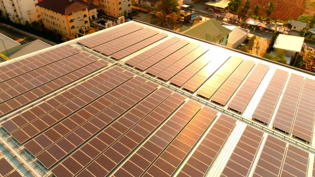 Solar power rooftop at sunset