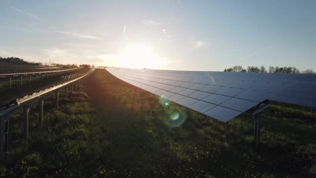 AERIAL Solar Power Station At Sunset Flyover Shot (4K/UHD) video