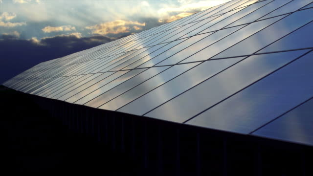 t/l solar power station at sunset (4:2:2@100 mb/s) - solar panels stock videos & royalty-free footage