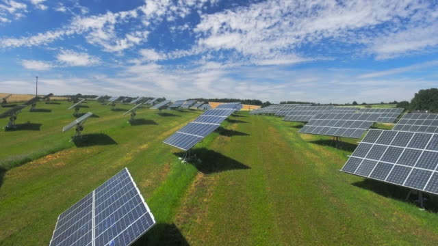 AERIAL Solar Power Station With Turnable Panels (4K/UHD) video