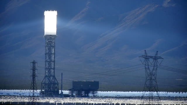 Solar Power Tower With Heat Waves 4K video