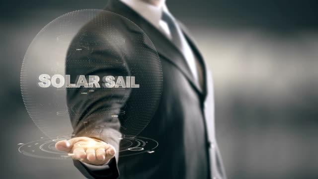 Solar Sail with hologram businessman concept