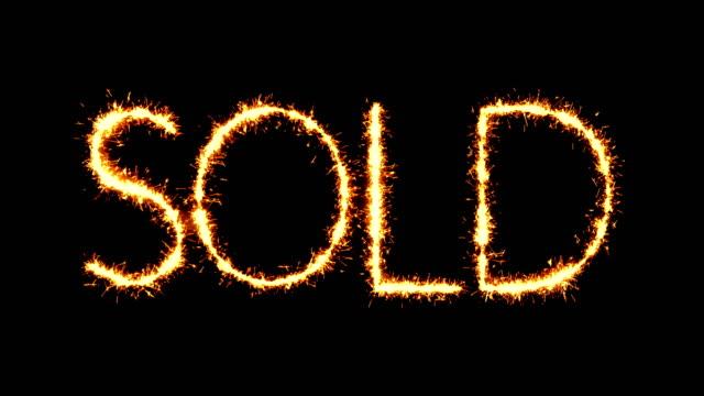 Sold Text Sparkler Glitter Sparks Firework Loop Animation