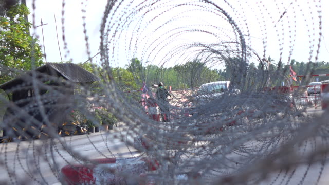 Soldier fence in the checkpoint background Soldier fence in the checkpoint background time zone stock videos & royalty-free footage