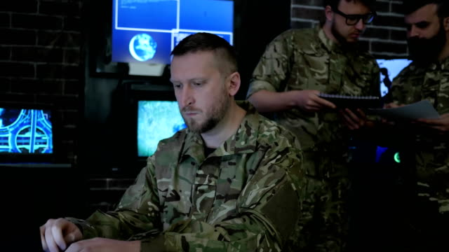 soldier male portrait, technical control, tracking system, IT war video