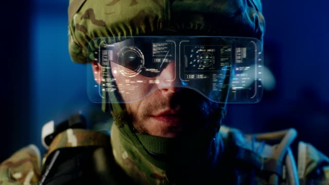 Soldier using high-tech sunglasses video