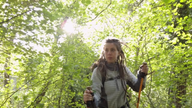 TRACKING SHOT: Solo female hiker in forest video