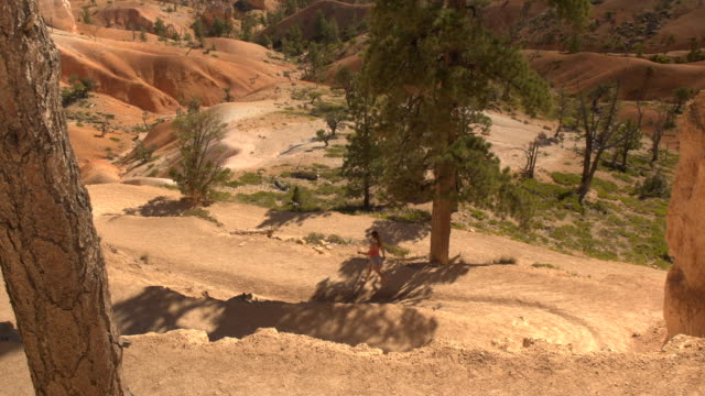 Solo traveler walking down the switchback trail in sunny Bryce Canyon desert video