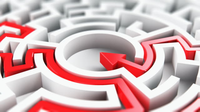 Solved round circle labyrinth maze Creative abstract success, perspective vision, marketing, strategy, finding solution and motivation business communication concept: 3D render illustration of the solved round circle labyrinth maze with red arrow path on white background eternity stock videos & royalty-free footage