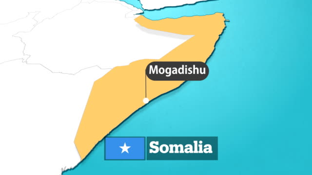 somalian map with flag - сомали стоковые видео и кадры b-roll