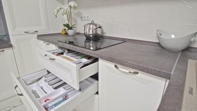 Some details of modern white wooden kitchen