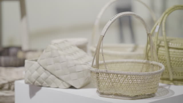 some of the weaved baskets on the display - ивовый прут стоковые видео и кадры b-roll