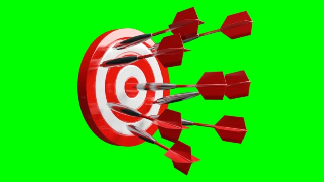 Some red dart arrows hit target on green chroma key.