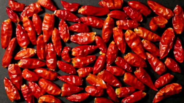 Some spicy red peppers, grouped in rectangular shape on a black plane, in progressive focus. Some spicy red peppers, grouped in rectangular shape on a black plane, in progressive focus. paprika stock videos & royalty-free footage