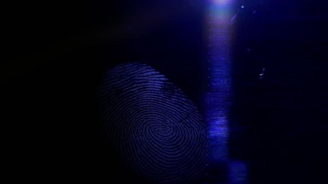 Somebody lighting up a fingerprint left on a dark surface