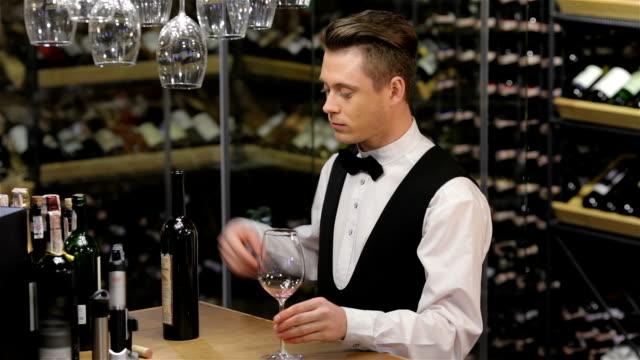 Sommelier examining wine video