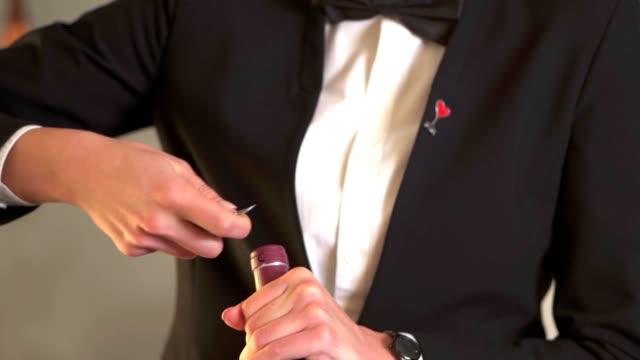 sommelier beim öffnen einer flasche rotwein - winzer sitzend trauben stock-videos und b-roll-filmmaterial