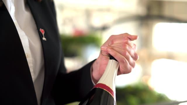 sommelier serviert sekt in einem restaurant - winzer sitzend trauben stock-videos und b-roll-filmmaterial
