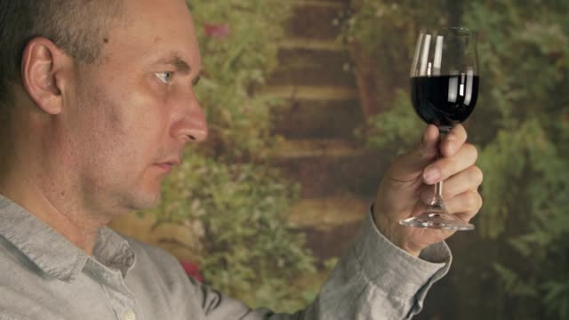 Sommelier smelling flavor red wine in glass and tasting. Red wine degustation video