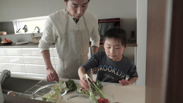 息子は、サラダをご用意しており、父親 - 日本人のみ点の映像素材/bロール