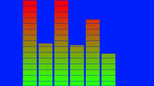 effetti sonori e file audio equalization bar su uno schermo verde 3d - frequenza video stock e b–roll