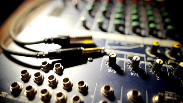 Sound mixer desk with cables video