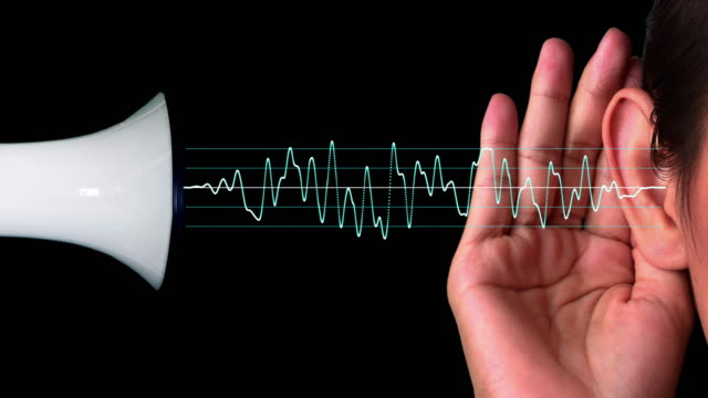 Sound waves travelling from a megaphone to a human ear Sound waves travelling from a megaphone to a human ear. ear stock videos & royalty-free footage