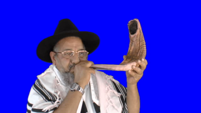 Sounding a shofar on Rosh Hashana Sounding a shofar rosh hashanah stock videos & royalty-free footage