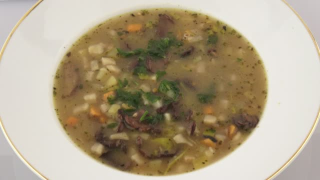 Soup with mushrooms and vegetables