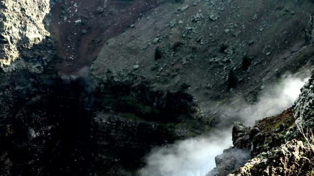 Sources of smoke in the crater of the volcano video